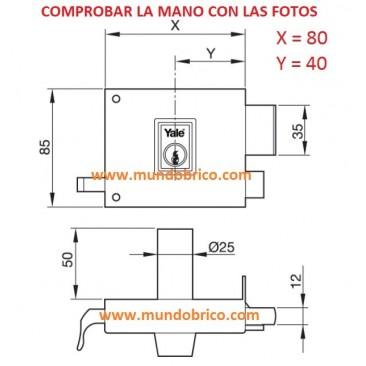 Cerradura AZBE YALE 125R HP 80 Izquierda