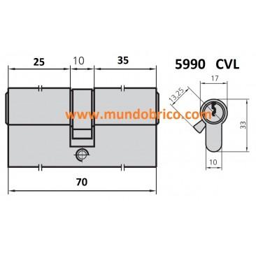 Cilindro CVL 5990 25x35 LATÓN leva corta