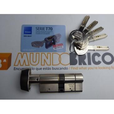 Cilindro BOTÓN TESA T-70 40x40 Niquelado Leva larga