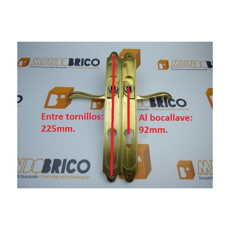 Juego de manillas doradas para puertas de aluminio madera o pvc oro - Manillas para puertas de madera ...