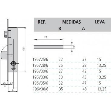 cerradura cvl 196V/0-35 sin cilindro