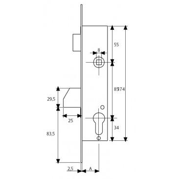 cerradura tesa 4210-30 P/basculante s/c