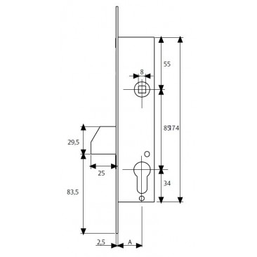 cerradura tesa 4211-25 P/basculante s/c