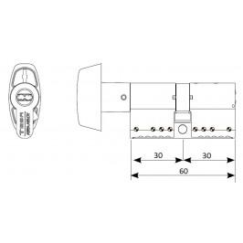 Cilindro TESA TK-100 30x30 Botón Latón Leva larga