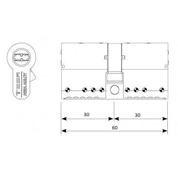 Cilindro TESA MK-100 30x30 Latón Leva corta