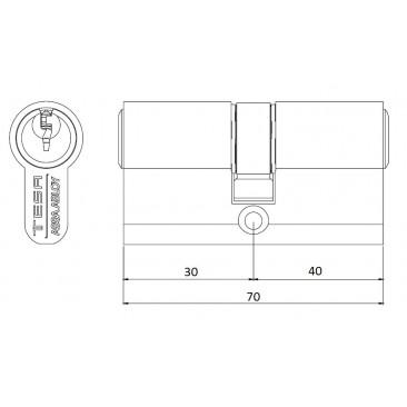 Cilindro TESA 5200 30x40 Niquelado Leva corta