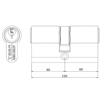 Cilindro TESA 5200 60x60 Latón Leva corta
