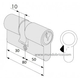 Cilindro CISA C2000 30x50 Niquelado Leva Larga