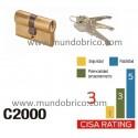 Cilindro CISA C2000 40x40 Latón Leva Larga