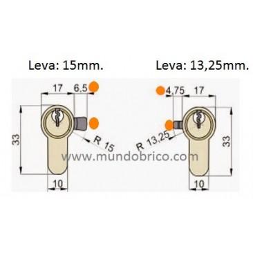 Cilindro TESA 5030 30x30 Niquelado Leva larga BOTÓN