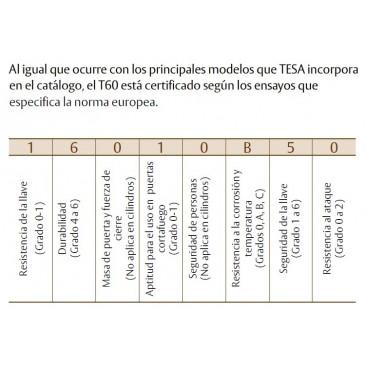 Cilindro TESA T-60 30x30 Niquelado Leva Larga