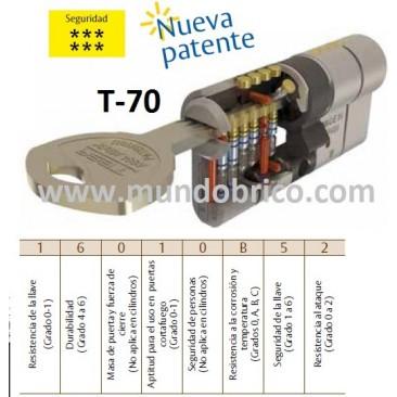 Cilindro TESA T-70 35x35 Latón Leva alta