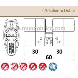 Cilindro TESA T-70 30x30 latón Leva larga