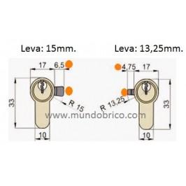 Cilindro TESA T-70 45x50 Niquelado Leva larga doble embrague