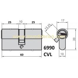 Cilindro CVL 6990 30x30 Latón Leva Corta