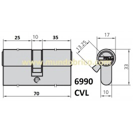 Cilindro CVL 6990 30x40 Latón Leva Corta