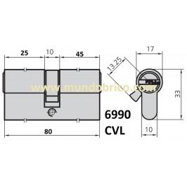 Cilindro CVL 6990 30x50 Niquelado Leva Baja