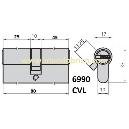Cilindro CVL 6990 30x50 Niquelado Leva Corta