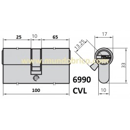 Cilindro CVL 6990 30x70 Niquelado Leva Corta