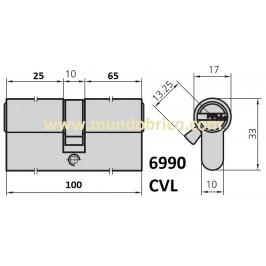 Cilindro CVL 6990 30x70 Latón Leva Corta