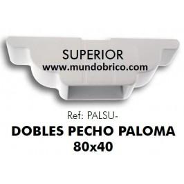 Doble pecho paloma superior Pérgola Aluminio 80x40 BLANCO