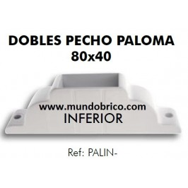 Doble pecho paloma inferior Pérgola Aluminio 80x40 BLANCO