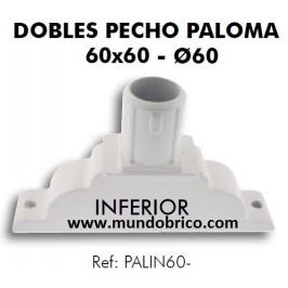 Doble Pecho Paloma Inferior Aluminio 60X60 BLANCO