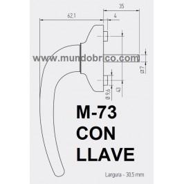 Manilla o cremona con LLAVE PVC M-73 Marrón