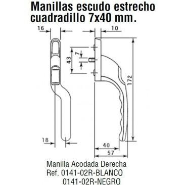 Manilla o cremona PVC ACODADA Derecha Negro