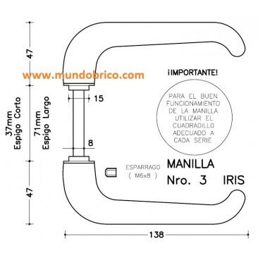Juego Manilla Nº 3 de SAN ANTONIO Bronce espigo LARGO