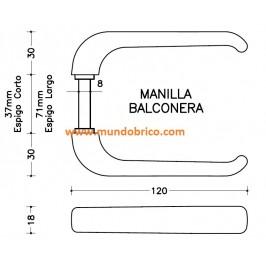 Manilla BALCONERA IRIS de SAN ANTONIO Bronce espigo CORTO