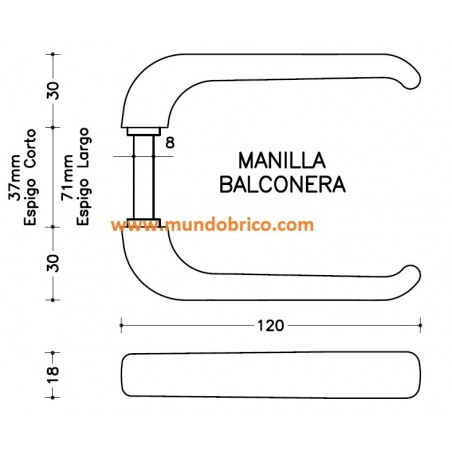 Manilla BALCONERA IRIS de SAN ANTONIO Bronce espigo LARGO