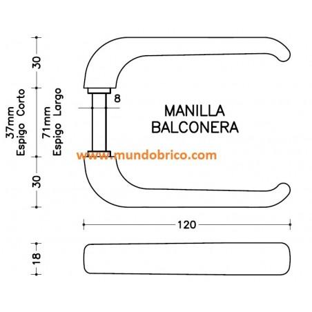 Manilla BALCONERA IRIS de SAN ANTONIO Oro espigo LARGO