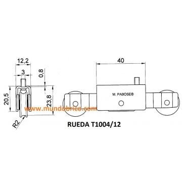 Rueda tándem metálica T1004/12 PABOSE